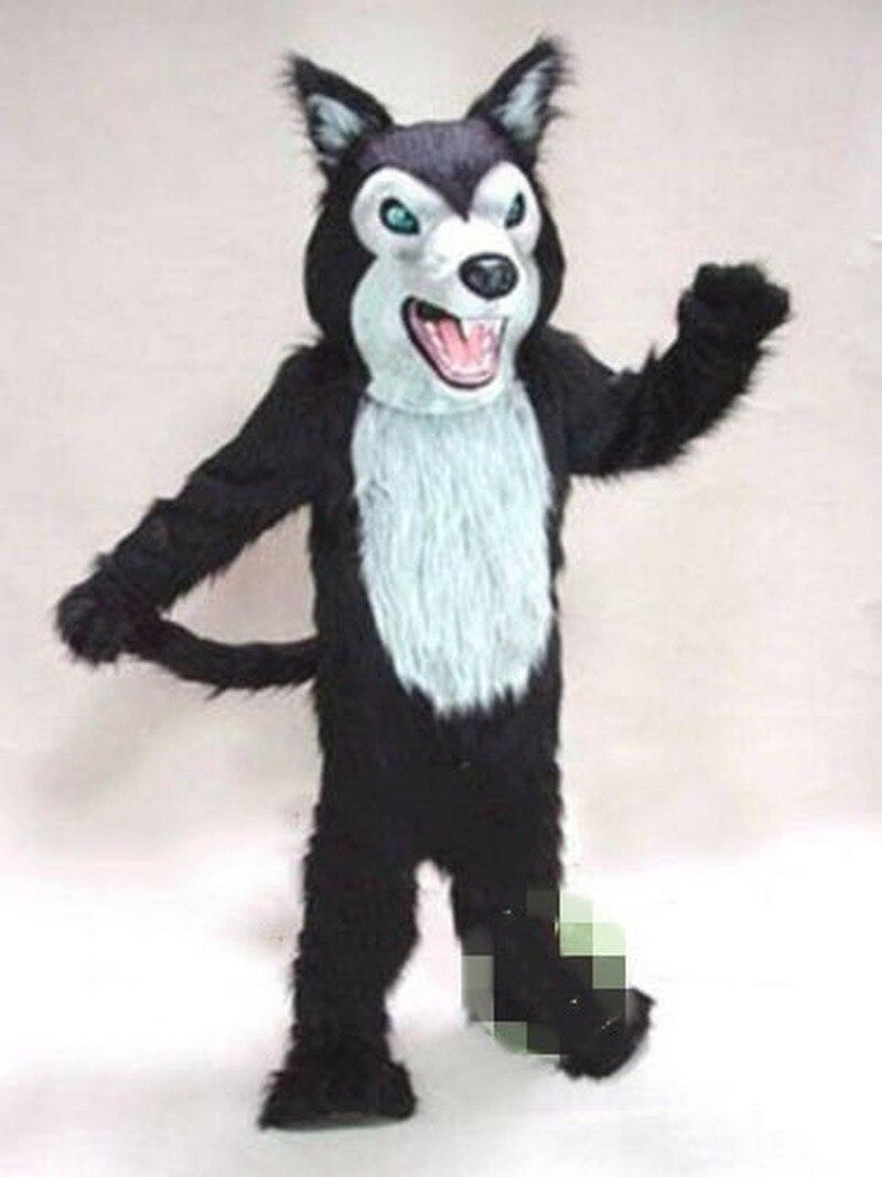 Los adultos Lobo negro perro Husky Fursuit traje de la mascota trajes vestido de fiesta ropa promoción carnaval Halloween, Cosplay, traje unisex regalo