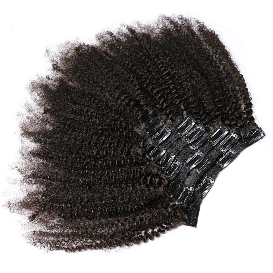 KL Afro rizado Clip en extensiones de cabello humano mongol Remy cabello humano Clip Ins con trama de encaje 8 unids/set de cabeza completa envío rápido
