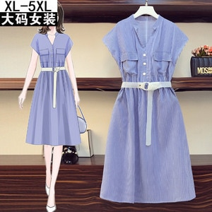 plus Size Women's Clothing, New plus Size Slimming Younger Slim-Fit Dress Casual Shirt Dress