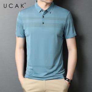 UCAK Brand Classic Striped Turn-down Collar Short Sleeve T-Shirt Summer New Arrival Streetwear Casual Cotton T Shirt Homme U5521