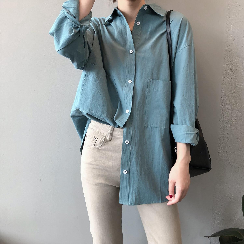 2020 Vrouwen Herfst Katoen Blouses Turn Down Kraag Solid Vrouwen Tops Lange Kleding Lengte Shirts Eenvoudige Losse Jongen Stijl Blouses