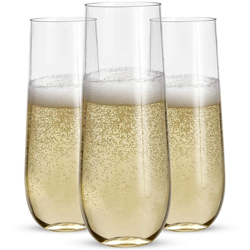 24 ستيمليس البلاستيك مزامير الشمبانيا-9 Oz البلاستيك كؤوس الشامبانيا واضحة غير قابلة للكسر تحميص نظارات المتاح لحفل الزفاف