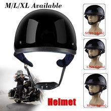 Casque tactique noir brillant moto   Demi-casque de vélo, casque de vélo demi-plat, casque pour Harley Chopper Cruiser Biker M L XL, en vogue