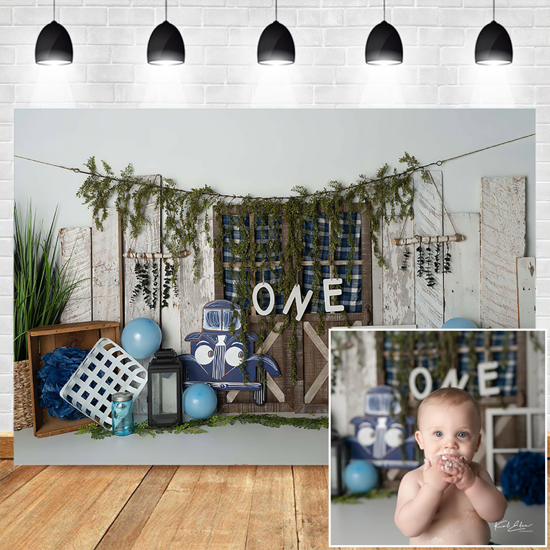 Children  First Birthday Photography Backdrops Wooden Door Floral Decor Newborn Baby Portrait Photocall Background Photo Studio