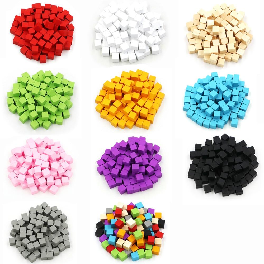 Lote de 300 unidades de cubos de madera de 10mm, piezas de ajedrez de dados de colores, ángulo recto para juegos de mesa de Token Puzzle, Educación Temprana, envío gratis