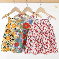 little girl childrens clothing floral sling dresses cute summer breathable