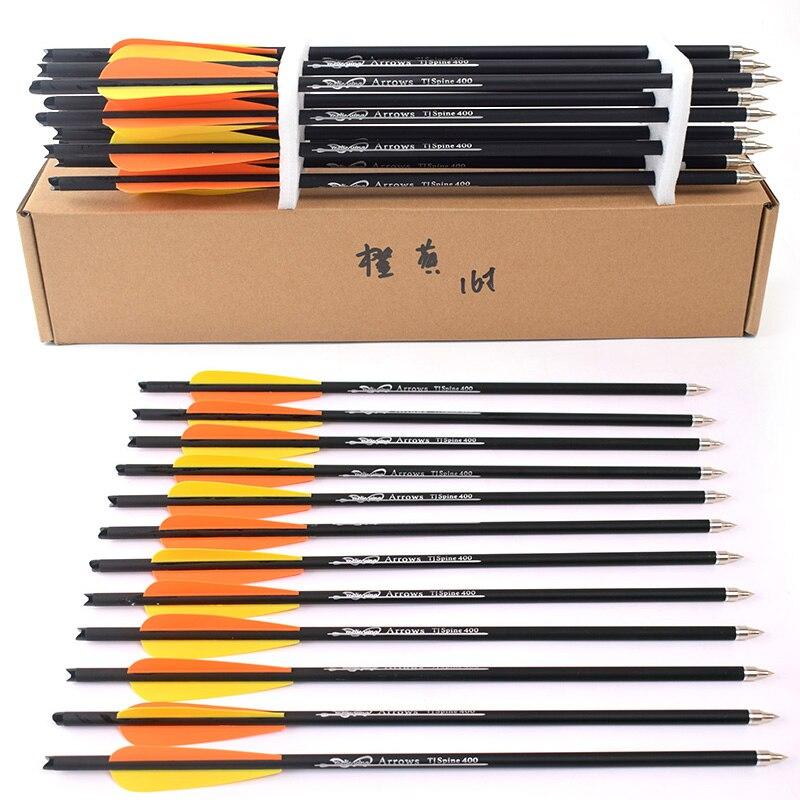 6/12 pçs 16/20 polegadas espinha 400 besta setas de carbono com laranja/amarelo pena para arco e flecha caça tiro com arco