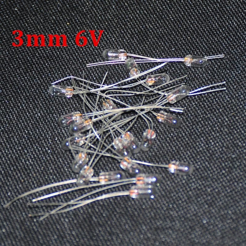 50 pces miniatura 3mm 6v lâmpada f3 bombilla incandescente edison filamento lâmpadas antigas luz 6v 3mm arroz miniatura lamparas
