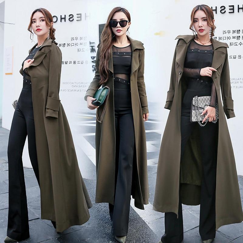 Gabardina larga para Mujer primavera 2020 nuevo Color sólido de manga larga con costuras solapa elegante rompevientos Mujer prendas de vestir Mujer Q24