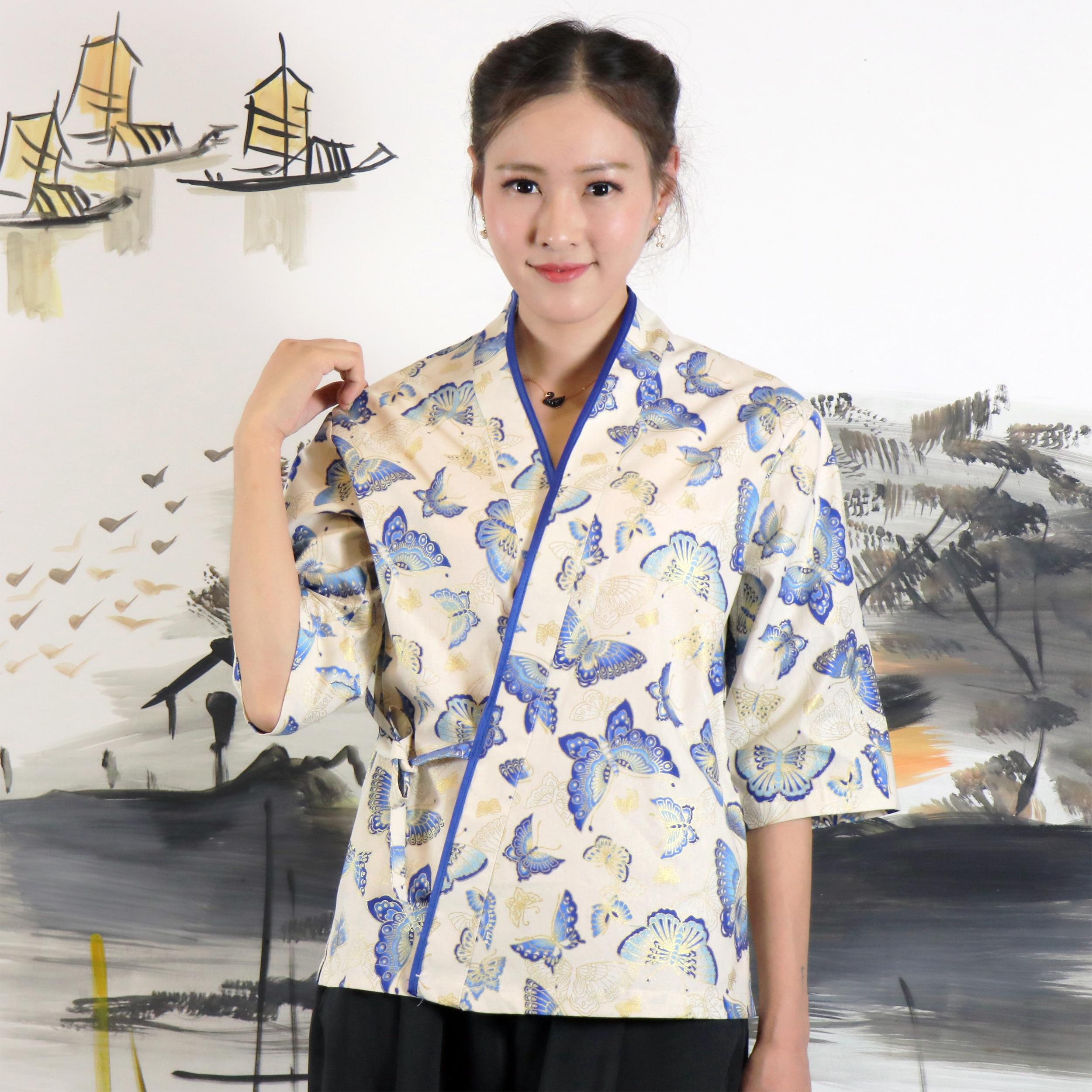 Custom Japanese Style Women Chef Uniform Restaurant Cuisine Waitress Working Uniforms Kimono Sushi Cook Clothes Medium Sleeve