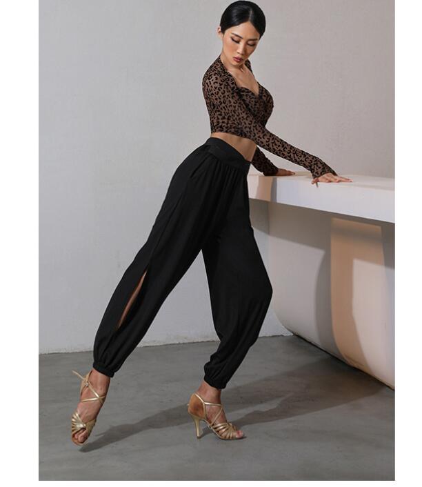 Latin Dance pants Adults Black pants salsa dress Samba Dancing Costumes tango dresss  leopard latin top 20816