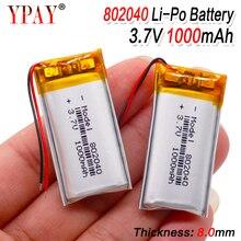 1/2/4x3.7 v recarregável 802040 baterias de lítio do polímero do íon de li carga do pwb protegido lipo li-polímero 1000 mah pilha de substituição