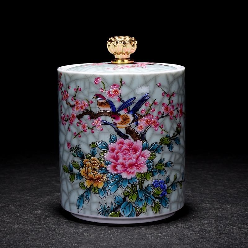Exquisito plum flor pájaro a prueba de humedad sello cerámica cubierta café frijol caramelo galleta colección tarro cocina almacenamiento Decoración