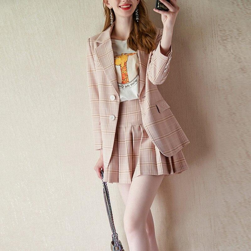 Womens suit autumn new fashion retro office ladies professional suit plaid suit jacket female + pleated skirt two-piece