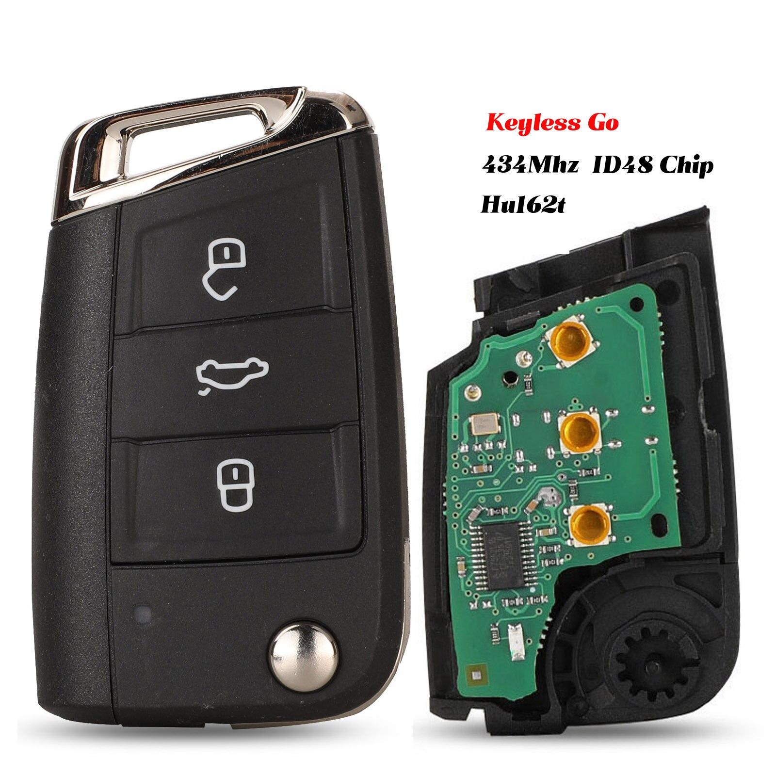 Jingyuqin clé à distance sans clé-go/demi-Option intelligente 434MHz MQB ID48 pour VW Seat Golf 7 MK7 Touran Polo Tiguan 5G6959752AB BB