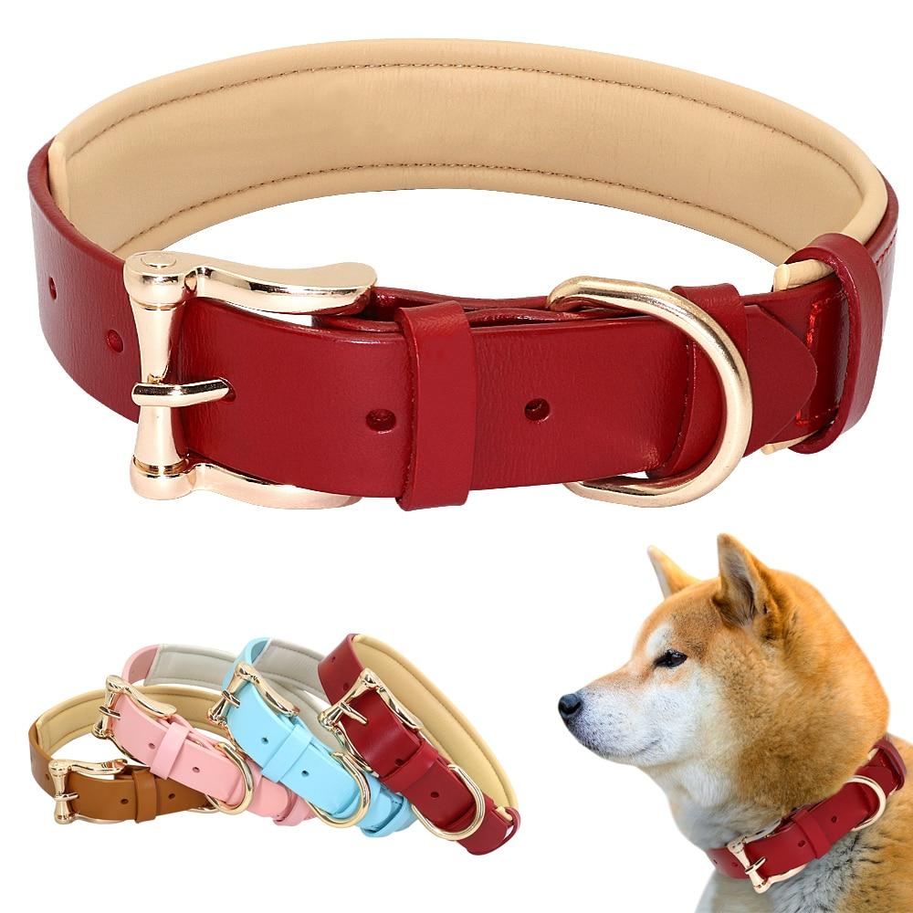 Collar de perros de piel sintética Para Perro grande, ajustable, liso, acolchado,...