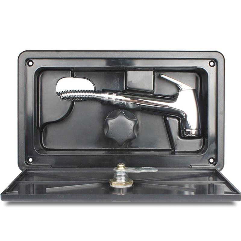 مجموعة صندوق دش RV مع قفل صنبور ، خرطوم دش ، عصا دش ، قارب ، عربة ، منزل متنقل