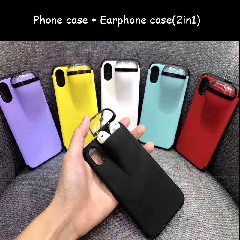 Moda 2in1 caso de telefone com fone de ouvido caso para airpods, silicone caso do telefone para o iphone 11 pro 6 7 8 plus xs x max capa