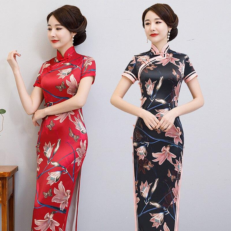 فستان نسائي أنيق مصنوع يدويًا من الساتان طويل من تشيباو بياقة الماندرين الصينية مطبوع بأكمام قصيرة شيونغسام مقاس كبير 5XL