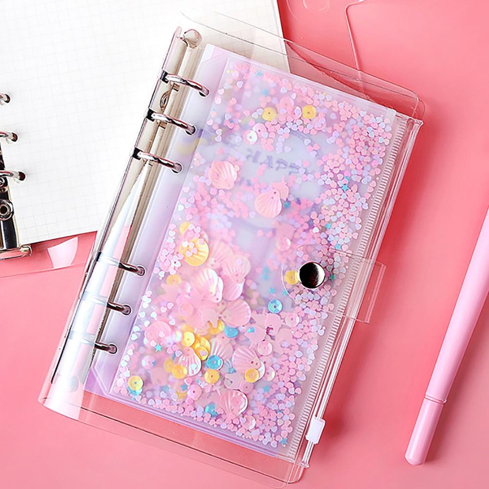 5Pcs Cute A5 A6 Folder Binder Pouch PVC Binder Folder Holder Zipper Index Divider Spiral Bag Kawaii Stationery Office Supplies