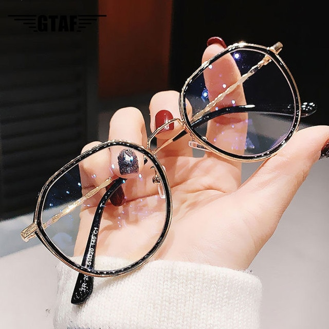 -1.0 -1.5 -2.0 -2.5 -3.0 to -6.0 Women Men Fashion Round Myopia Glasses Oversized Eyeglasses Frames Students Metal Clear Glasses