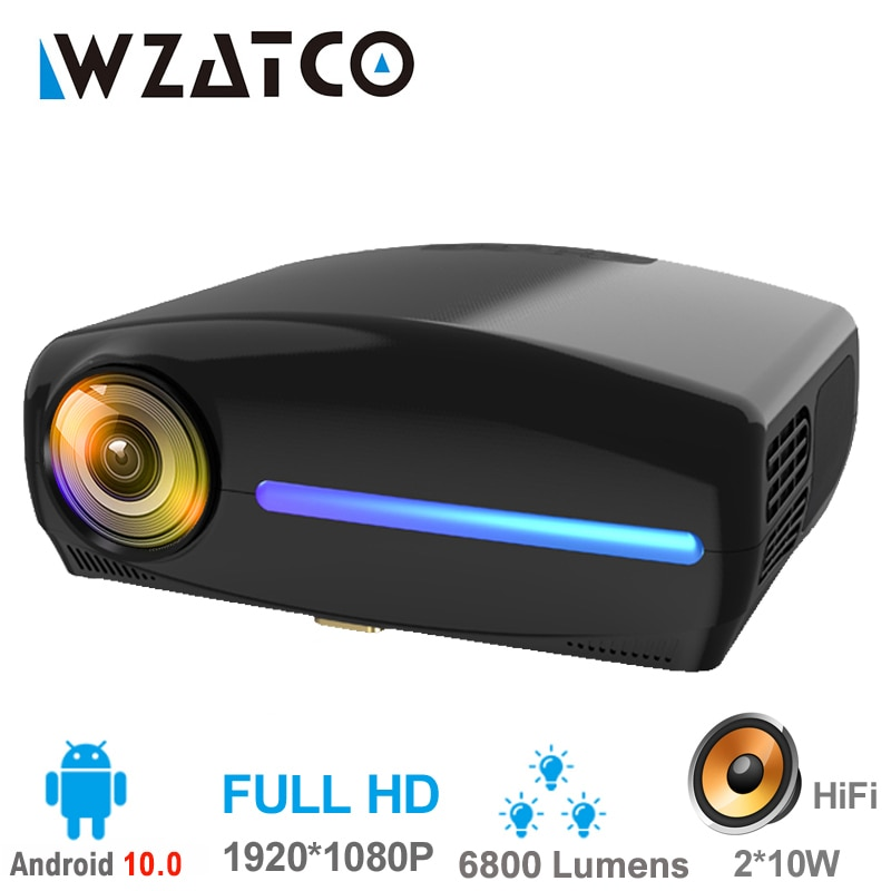 WZATCO-Proyector LED C2 Full HD, 1920x1080P, con Keystone Digital 4D, 6800 lúmenes,...
