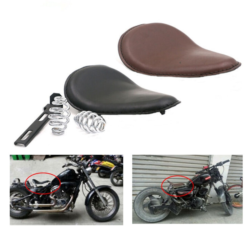 "3 ""de couro da motocicleta do vintage primavera motorista suporte solo assento para harley yamaha honda kawasaki chopper bobber acessórios personalizados"