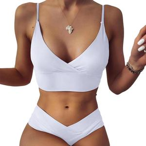 High Waist Bikinis Swimsuits Women Push Up Swimwear Bikini Bathing Biquini Beachwear Suit Brazilian Strap Ribbed 2021 New B0Q2
