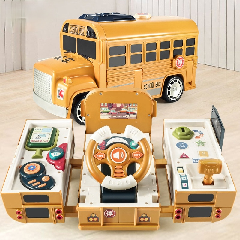 foppapedretti bus Children's Steering Wheel Toy Deformation Bus Bus Early Education Multifunctional Sound and Light School Bus Simulation Driving