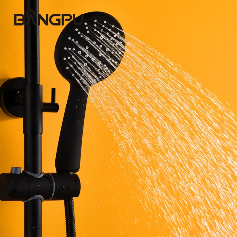 BANGPU المادة الأسود دش يدوي ABS البلاستيك دش رئيس متعددة الوظائف ارتفاع ضغط يده دش رأس دش موفر للمياه