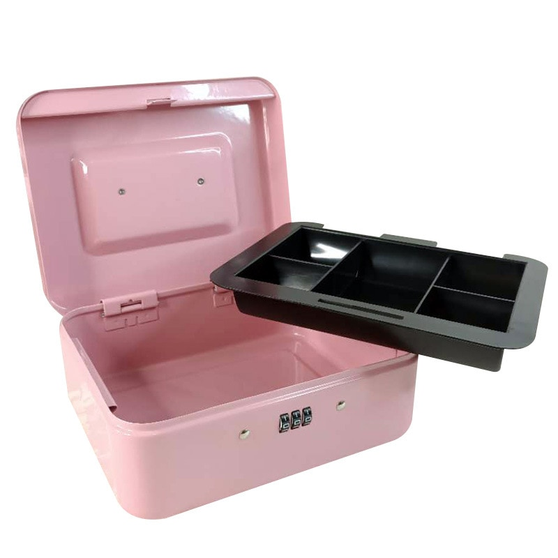 New Metal Box Portable Security Safe Pink Box Password Lock Children Money Bank Jewelry Storage For Home School Office 4 sizes