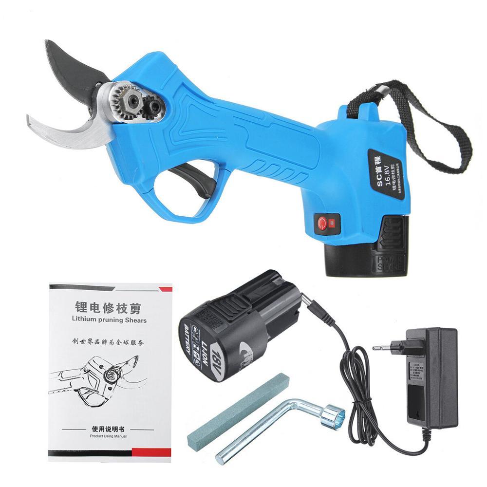 Allsome 16.8 v sem fio 25mm recarregável tesouras de poda elétrica tesoura ramo árvore corte aparar ferramentas com duas baterias