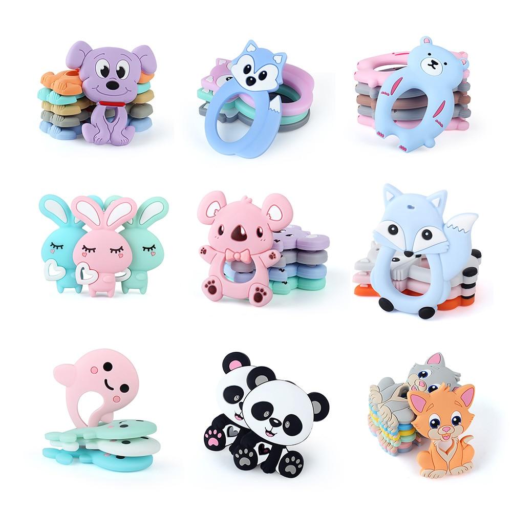 Mordedor de silicona para bebés con diseño de animales, Koala, oso, perro, mordedor DIY con cuentas de clip, productos para bebés 10 Uds.