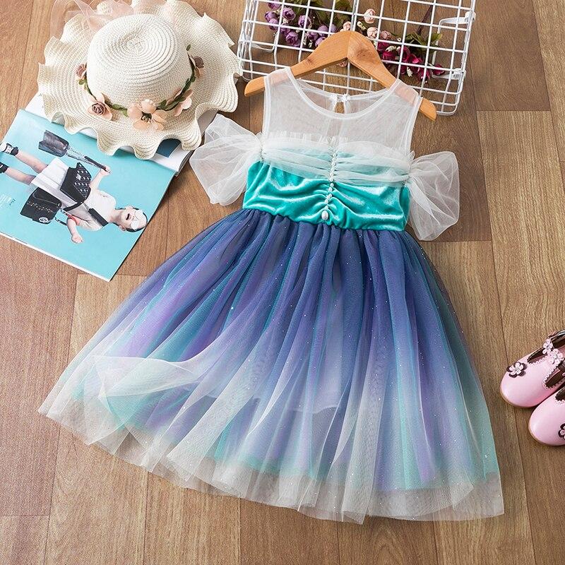 Vestidos infantiles para niñas de manga corta rebordear copo de nieve Vestido estampado traje de Año Nuevo Vestido de princesa niños ropa de Navidad Vestido