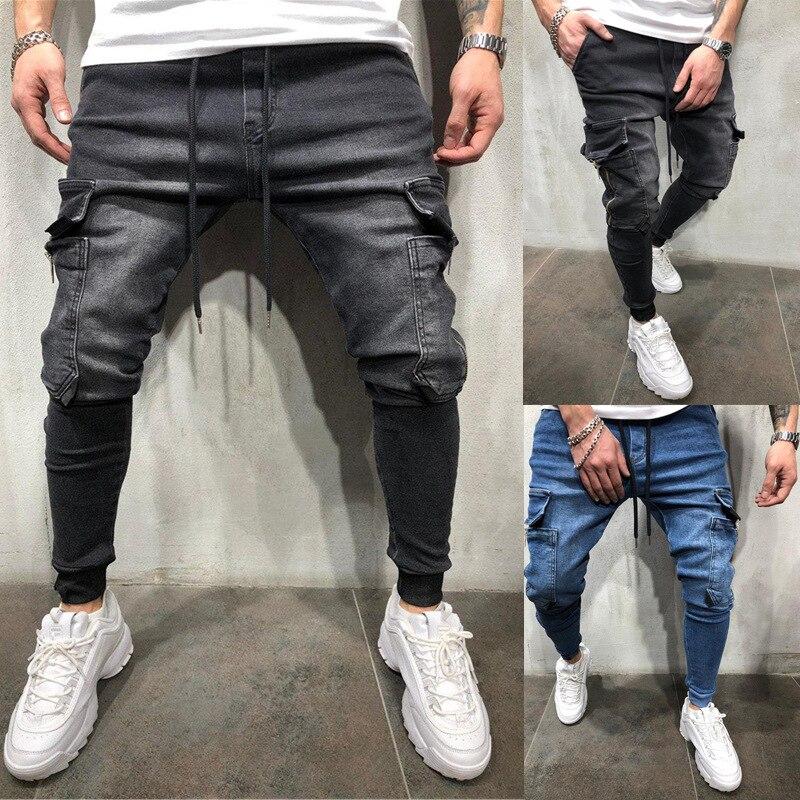 Узкие джинсы, мужские спортивные штаны в стиле хип-хоп, джинсы-карго, мужские джинсы 2021
