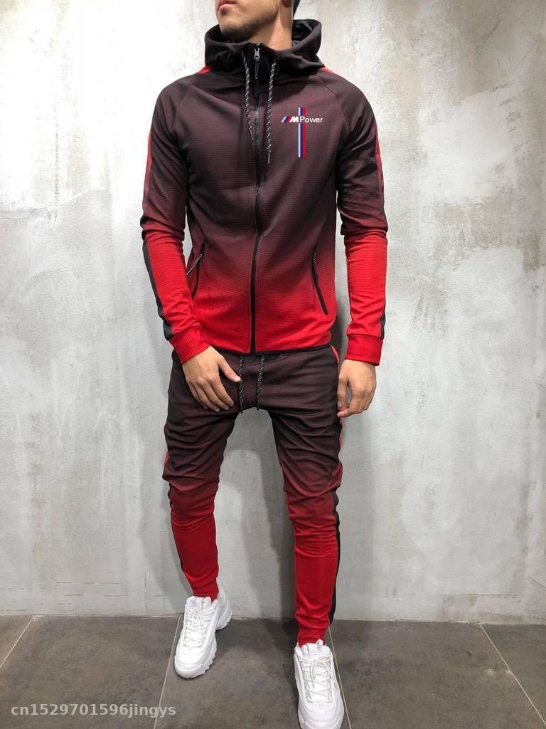 2020 cremallera chándal conjunto para hombre deportivos para bmw power chaqueta + Pantalones 2 piezas sudaderas con capucha sudadera y pantalón traje de carreras