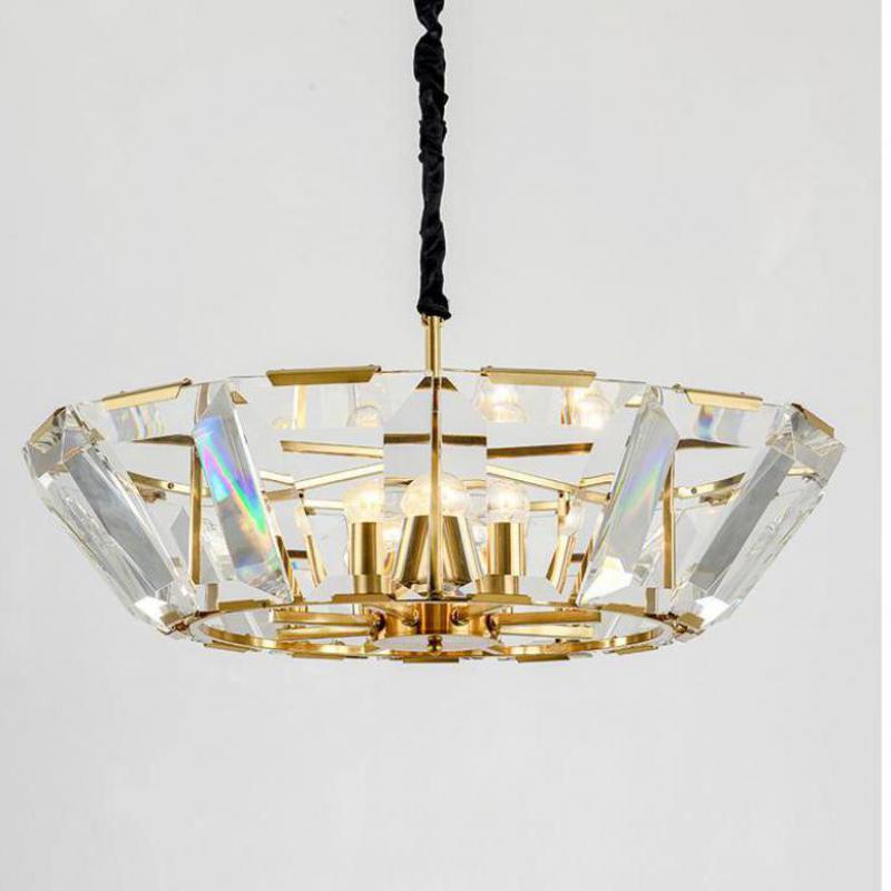 Large Gold Chandelier lighting for living room Halo Crystal light Lamp Duplex Floor Led Suspension Luminaria For hotel fixture