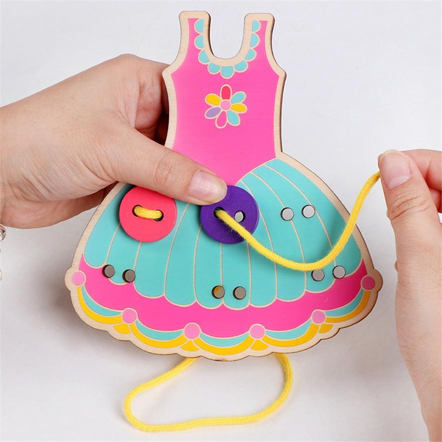 Деревянные Монтессори, ручная работа, одежда для шитья, пуговицы, бусины, шнуровка, нарезная доска, игрушки для девочек, детские материалы дл...