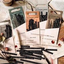 Pegatinas decorativas de doble Material PET, arte papel negro con cita de versículo para manualidades artesanales, planificadores, álbumes de recortes, 40 Uds.