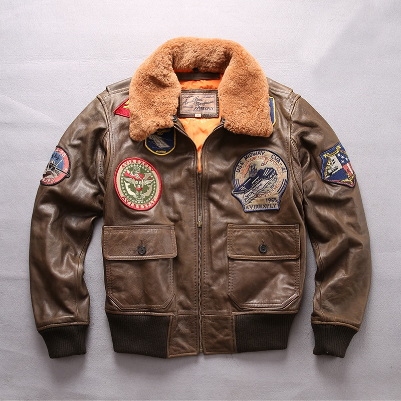 1257 Read Description! Asian size air force flight G1 pilot warm fur collar leather jacket quality genuine cow leather jacket