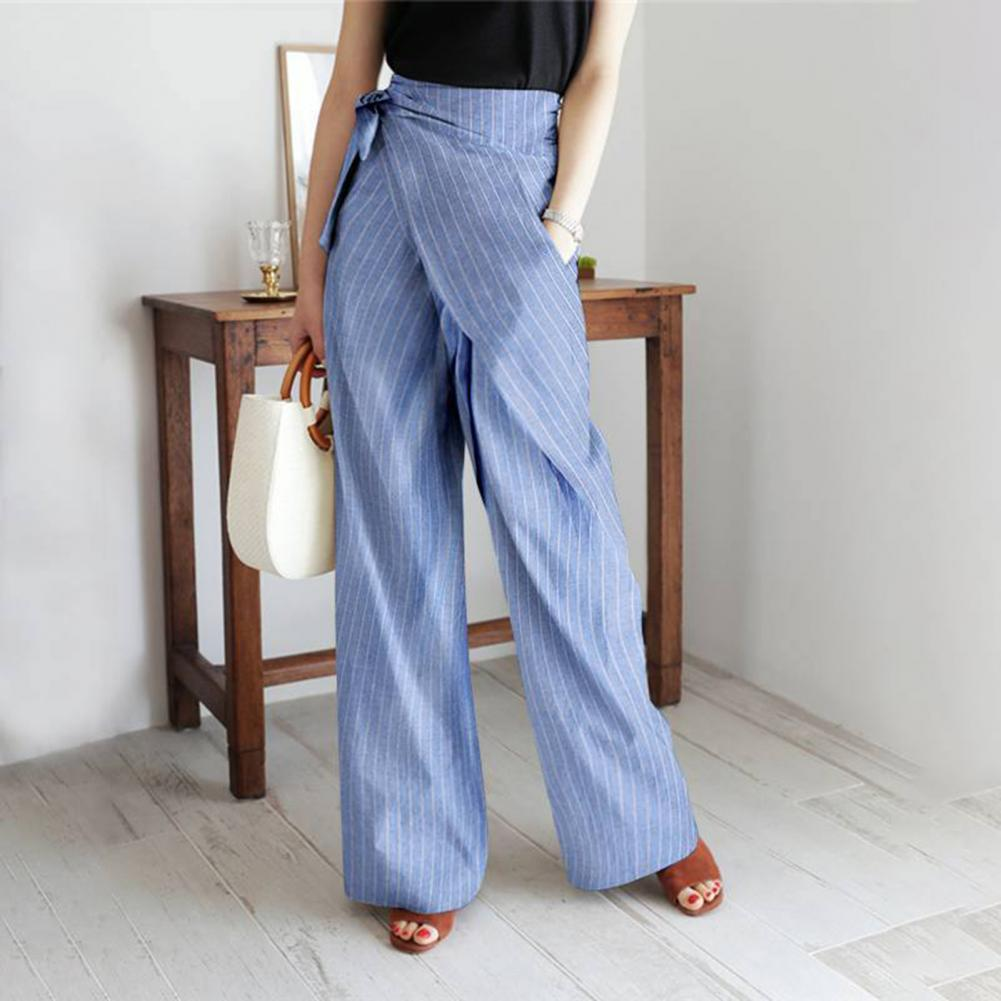 Stylish Pants Stripes Wide Leg Slacks Women High Waist Pockets Bandage Trousers for Work Loose