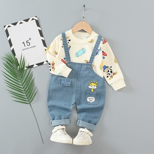 2Pcs/Set Children's Clothing Kids Girls Sweatshirt Casual Cargo Pants Baby Cartoon Outfits Overalls Sets Roupa Infantil Menina
