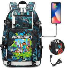 Рюкзак с принтом игры MINECRAFT для подростков, модный школьный ранец для мальчиков и девочек, дорожная сумка с USB, вместительный рюкзак для студ...