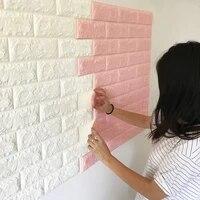 Papier peint auto-adhesif en mousse PE 3D  70x77cm  brique blanche  decoration murale impermeable pour renovation  bricolage