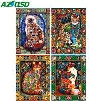 AZQSD     peinture diamant chat de dessin anime  point de croix  broderie  Animal  mosaique  fait a la main  image en strass  decor de maison
