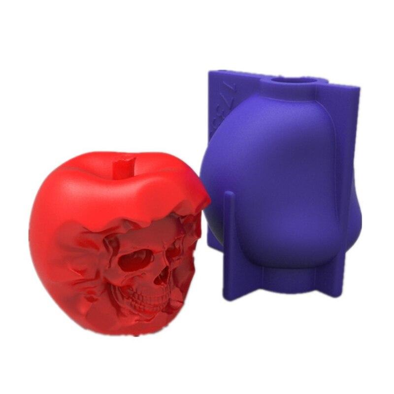 Череп яблоко 3D форма для мыла, свечи DIY Свечи эпоксидная форма свечи ручной работы Ароматические восковые формы для мыла для украшения