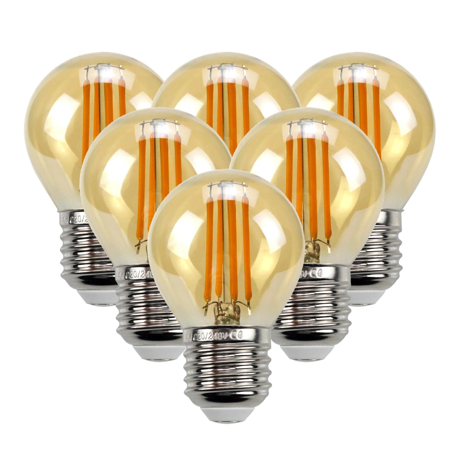 6 pcs edison lampadas branco quente 4w lampada para casa quarto sala de estar escritorio barra