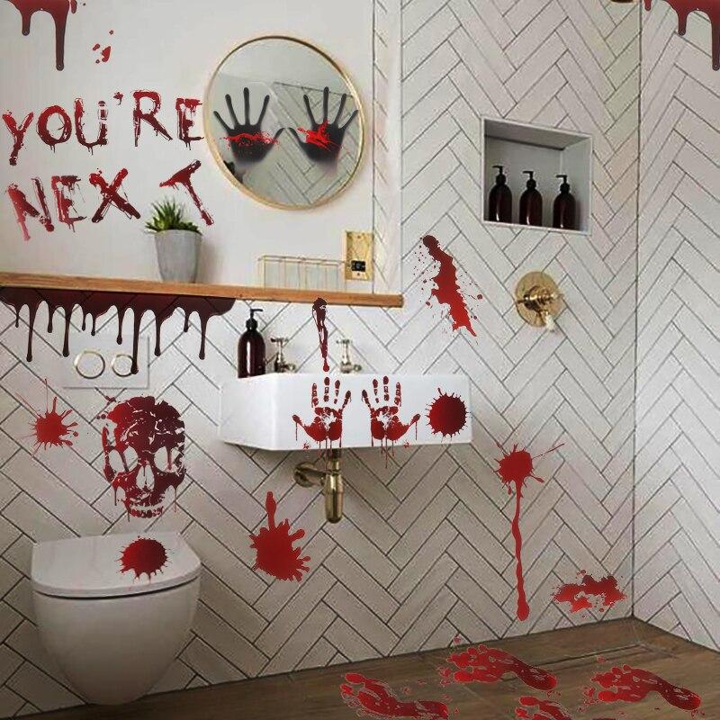 35*24cm bloody Halloween pegatina de pared fantasma YOU ARE NEXT sign ventana puerta o pared pegatinas Halloween decoración para el hogar Accesorios de terror