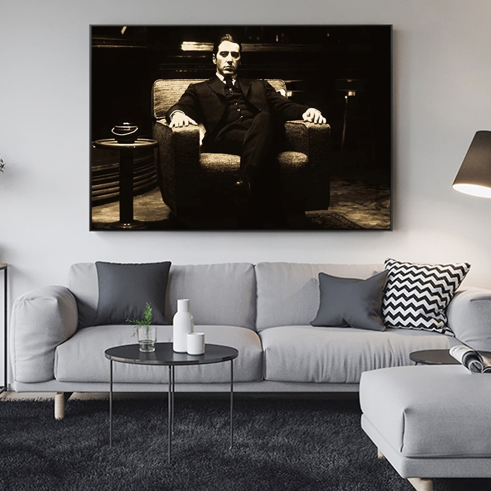 The Godfather Al Pacino Vintage Movie Poster Posters and Prints Canvas Paintings Wall Art Pictures for Living Room Decor