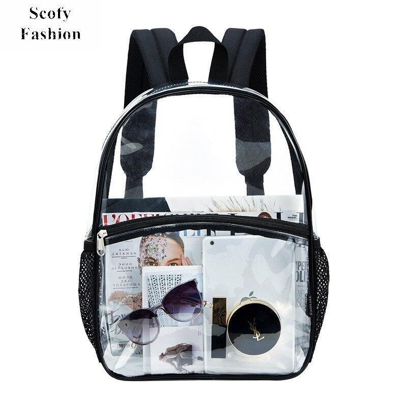 Прозрачный рюкзак из ПВХ для женщин, летний легкий школьный ранец большой вместимости, прозрачный рюкзак для девочек